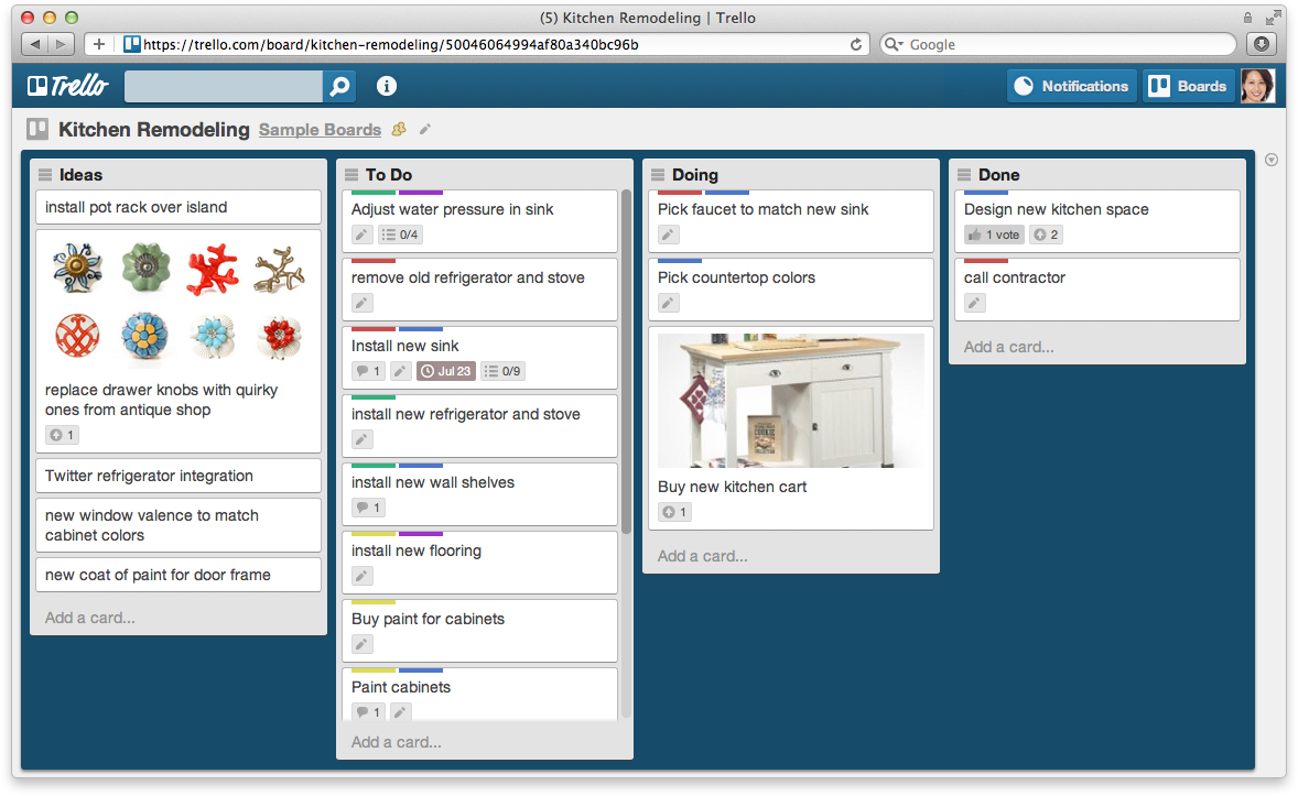 Trello helps us to manage our web design tasks