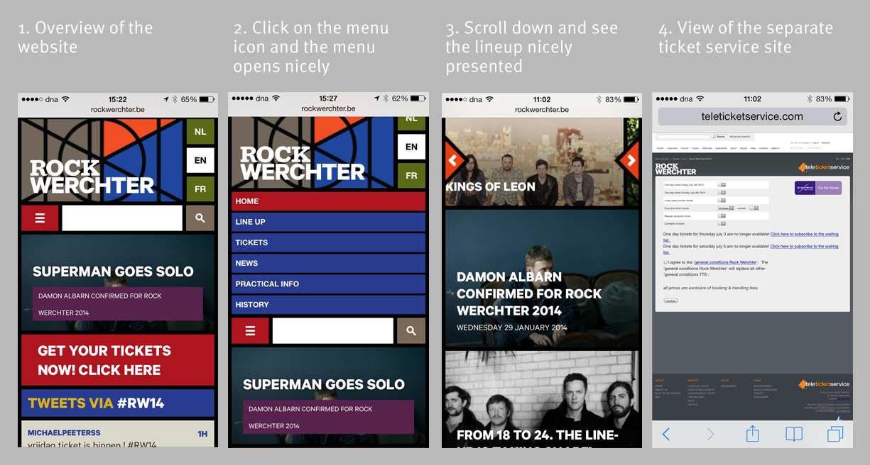 rock werchter responsive website mobile devices