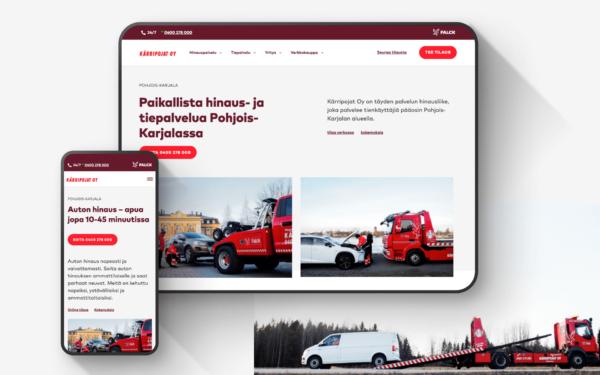 Falck-yrittäjän WordPress-sivusto