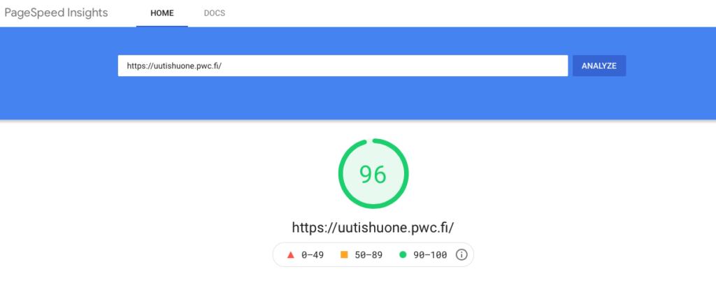 PwC Uutishuoneen Google PageSpeed Insight tulokset